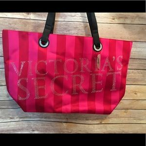 Victoria's Secret Pink Red Satin Tote OS